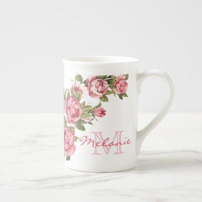 Vintage blush pink roses Peonies name, monogram Bone China Mug