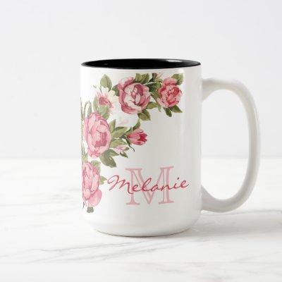 Vintage blush pink roses Peonies name, monogram Two-Tone Coffee Mug