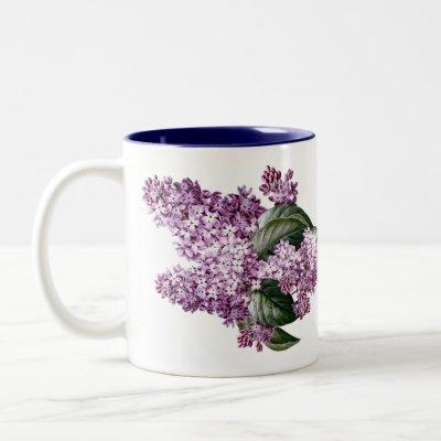 Vintage Botanical Lilacs Flowers Tea Two-Tone Coffee Mug