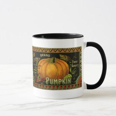 Vintage Can Label Art, Butterfly Pumpkin Vegetable Mug