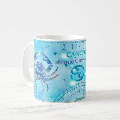 vintage Cancer zodiac sign  blue personalized Coffee Mug