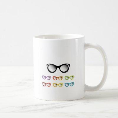Vintage cat eye eye wear for ladies coffee mug