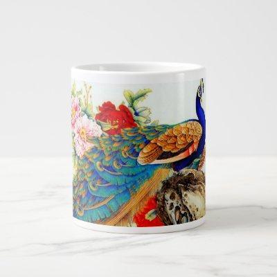 Vintage Colorful Peacocks Large Coffee Mug