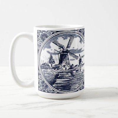 Vintage Cute Chic Dutch Windmill Delft Blue Coffee Mug