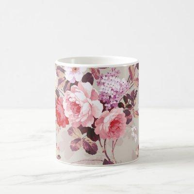 Vintage Elegant Pink Red Purple Roses Pattern Coffee Mug