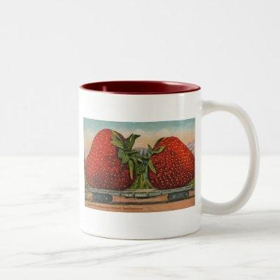 Vintage Giant Strawberries Two-Tone Coffee Mug