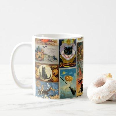Vintage Halloween Cards Collage Coffee Mug