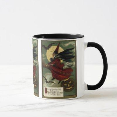 Vintage Halloween Witch Riding a Broom with Cat Mug
