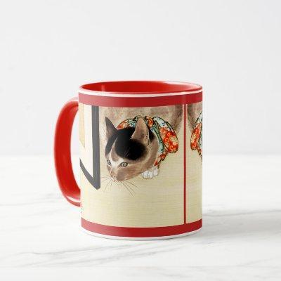 Vintage Japanese Cat Watching Spider Art Mug