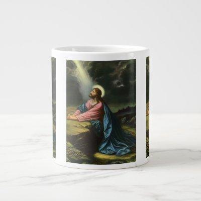 Vintage Jesus Christ Praying, Garden of Gethsemane Large Coffee Mug