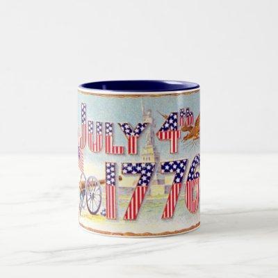 Vintage July 4TH Two-Tone Coffee Mug