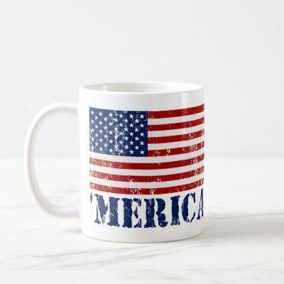 Vintage 'MERICA US Flag Coffee Mug