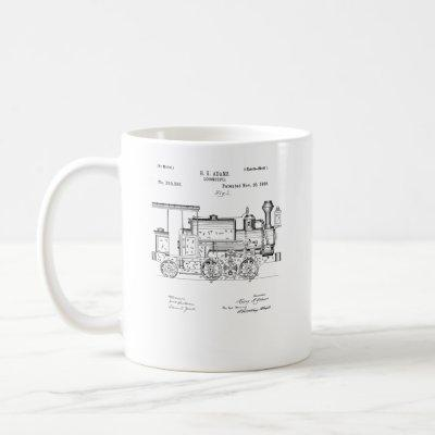 Vintage Patent Print 1886 Locomotive Steam Train Coffee Mug