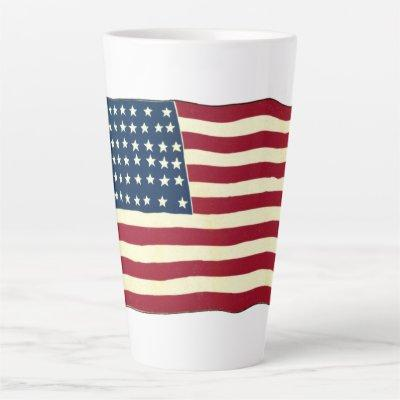 Vintage Patriotic American Flag, Fourth of July Latte Mug