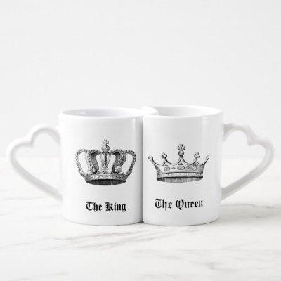 Vintage Personalized King and Queen Crowns Coffee Mug Set