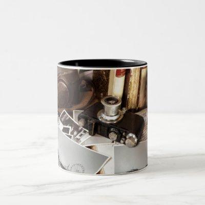 Vintage Photography Equipment Santa Monica Pier Two-Tone Coffee Mug