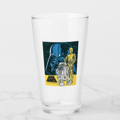 Vintage R2-D2, C-3PO, Darth Vader Star Collage Glass