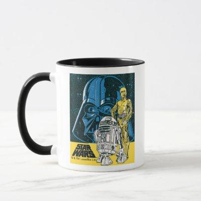 Vintage R2-D2, C-3PO, Darth Vader Star Collage Mug