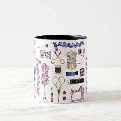 Vintage Sewing & Seamstress Decor Two-Tone Coffee Mug