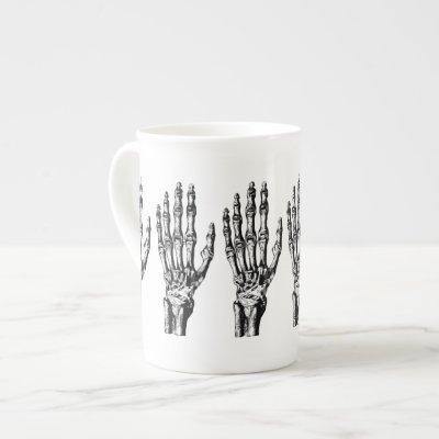 Vintage skeleton hand pattern bone china mug