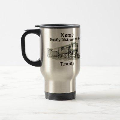 Vintage Steam Train Easily Distracted By, Add Name Travel Mug
