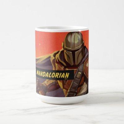 Vintage Style Mandalorian Halftone Art Coffee Mug