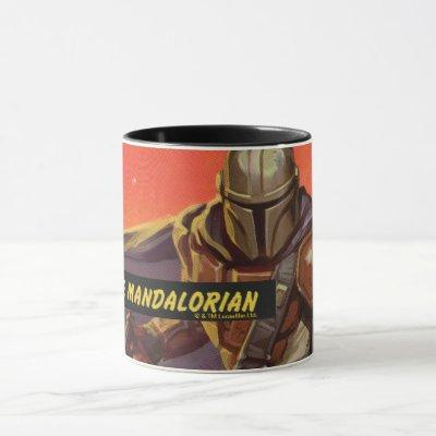 Vintage Style Mandalorian Halftone Art Mug
