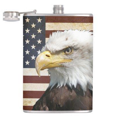 Vintage US USA Flag with American Eagle Flask