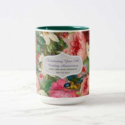 Vintage Wedding Anniversary ROSES - Commemorative Two-Tone Coffee Mug