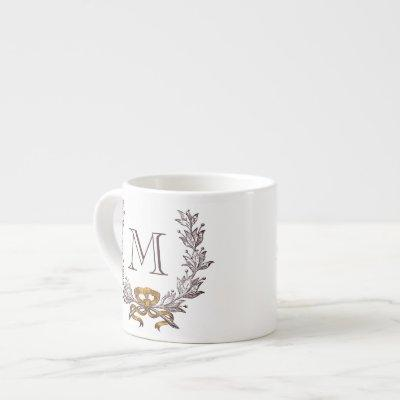 Vintage Wreath Personalized Monogram Initial Espresso Cup