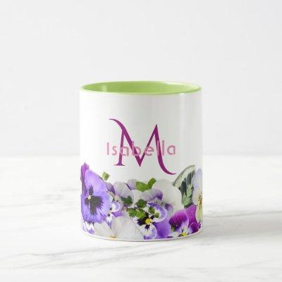 Violet pansies flowers on white with monogram name mug