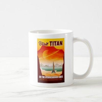 Visit Saturn's Moon Titan Travel Illustration Coffee Mug