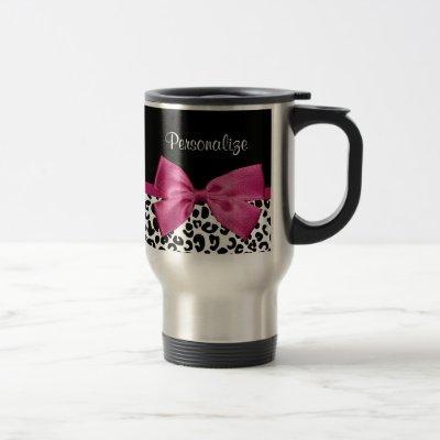 Vivacious Dark Pink Ribbon Leopard Print With Name Travel Mug