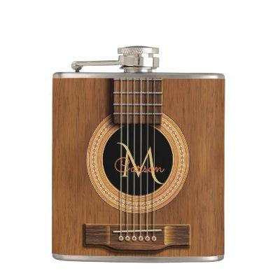 Warm Wood Acoustic Guitar Hip Flask