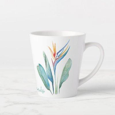 Watercolor Bird of Paradise Latte Mug