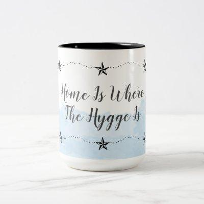 Watercolor Blue Home And Hygge Two-Tone Coffee Mug