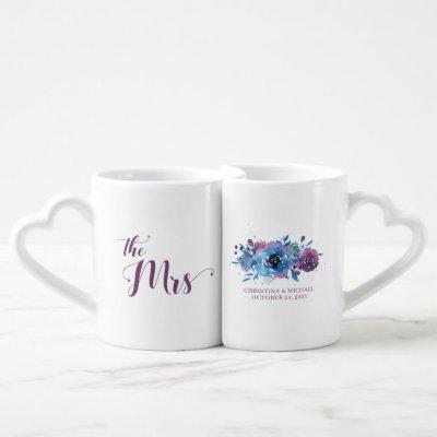 Watercolor Blue Purple Floral Mr Mrs Wedding Coffee Mug Set