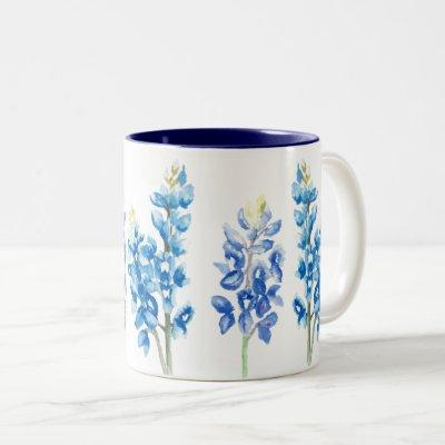Watercolor Bluebonnet Flowers Two-Tone Coffee Mug