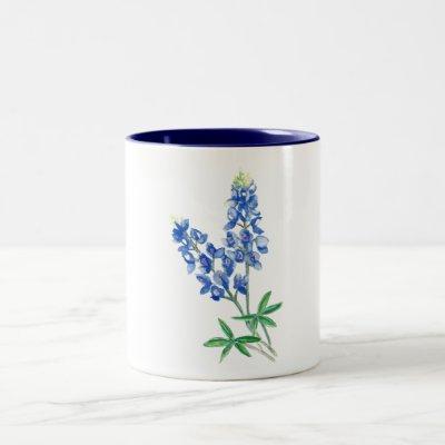 Watercolor Bluebonnets Two-Tone Coffee Mug