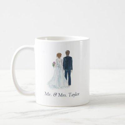 Watercolor Bride & Groom Just Married Mr Mrs Tea & Coffee Mug