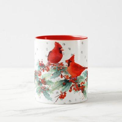 Watercolor Cardinal on Branches Silver Accents Two-Tone Coffee Mug