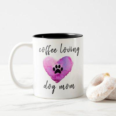 Watercolor Coffee Loving Dog Mom Two-Tone Coffee Mug