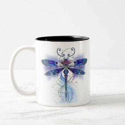 watercolor dragonfly art Two-Tone coffee mug