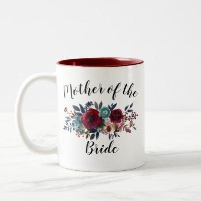 Watercolor Floral Burgundy Mother Bride Wedding Two-Tone Coffee Mug