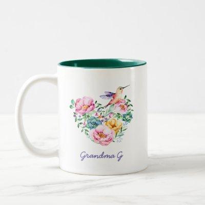 Watercolor Floral Heart Hummingbird Grandma Gift 2 Two-Tone Coffee Mug
