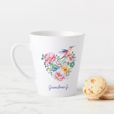 Watercolor Floral Heart Hummingbird Grandma Gift Latte Mug