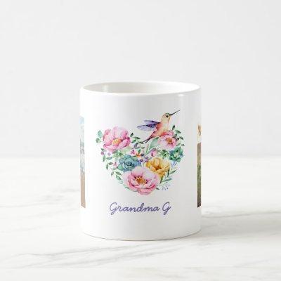 Watercolor Floral Heart Hummingbird Photo Gift Coffee Mug