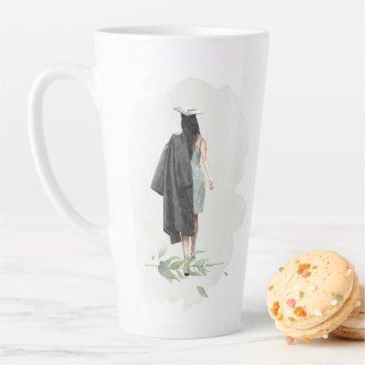 Watercolor Foliage Grad Girl Inspirational Quote Latte Mug