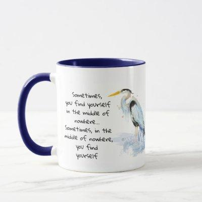 Watercolor Great Blue Heron Inspirational Quote Mug