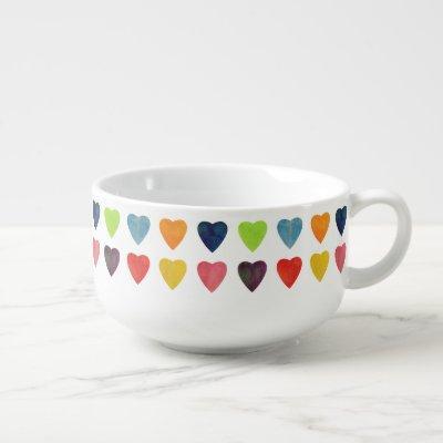 Watercolor Heart Pattern Soup Mug